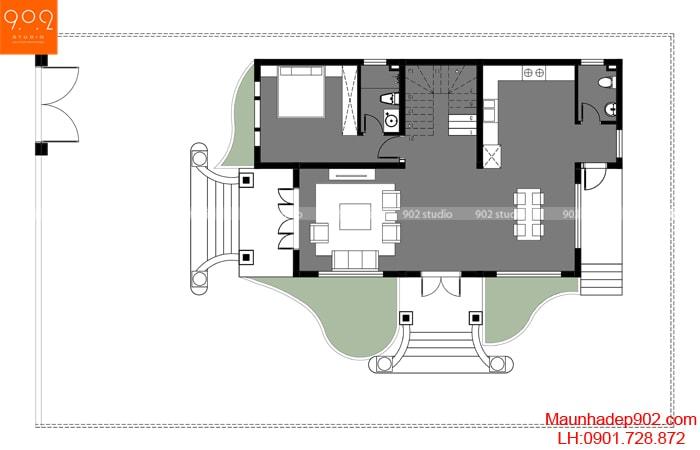 Bản vẽ nhà 2 tầng 3 phòng ngủ