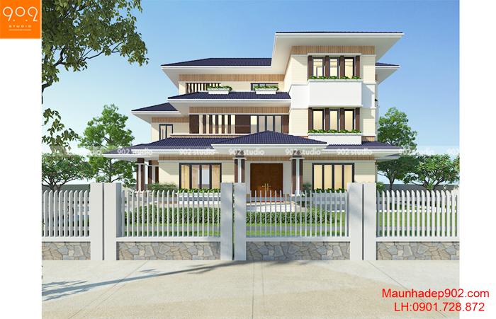 Mẫu thiết kế nhà mái thái 3 tầng mặt phố đẹp - BT129