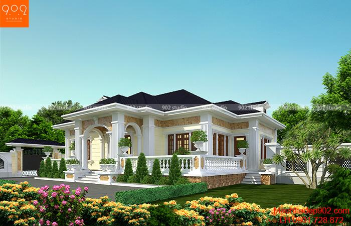 Mẫu biệt thự 1 tầng sân vườn 3 phòng ngủ 185m2 đẹp ở nông thôn - BT156