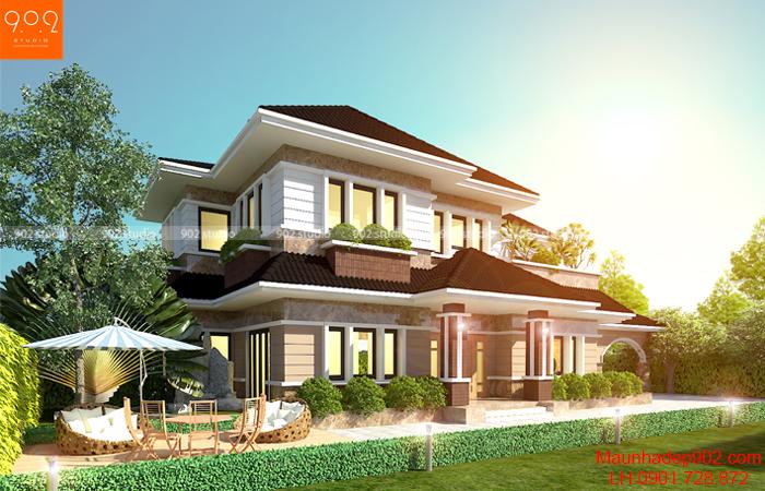 Mẫu thiết kế nhà mái thái 2 tầng đẹp phong cách hiện đại