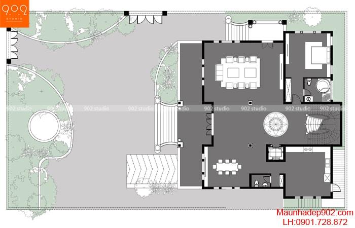 Mẫu biệt thự 3 tầng 3 mặt tiền BT154