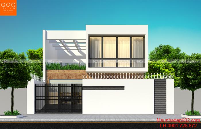 Mẫu nhà 1 trệt 1 lầu 3 phòng ngủ 185 m2 mặt tiền nhà phố đẹp