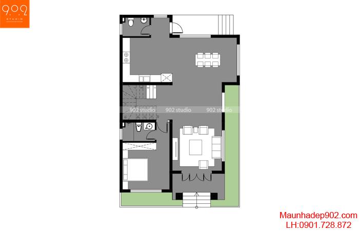Mẫu nhà 2 tầng 3 phòng ngủ giá rẻ
