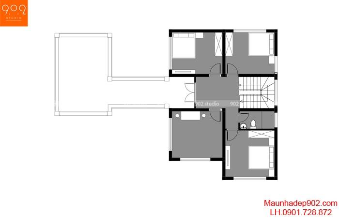 Mẫu nhà 2 tầng 4 phòng ngủ 1 phòng thờ
