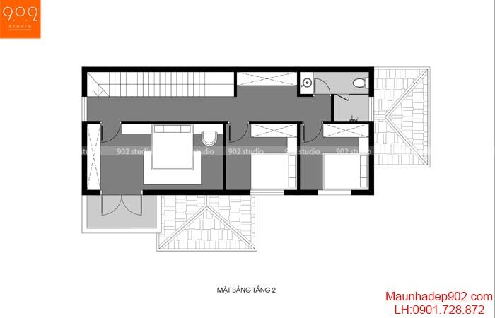 Mẫu nhà 2 tầng 4 phòng ngủ giá rẻ