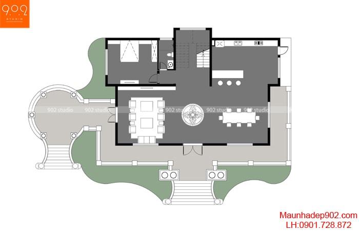 Mẫu nhà 2 tầng hình vuông sang trọng, hiện đại