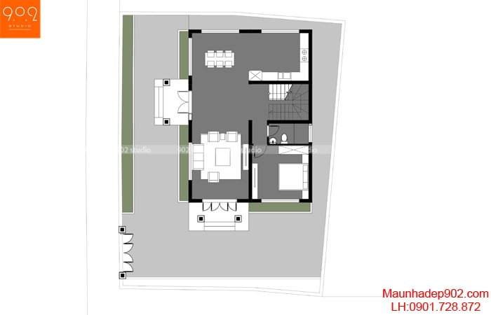 Mẫu nhà 2 tầng mái ngói sang trọng