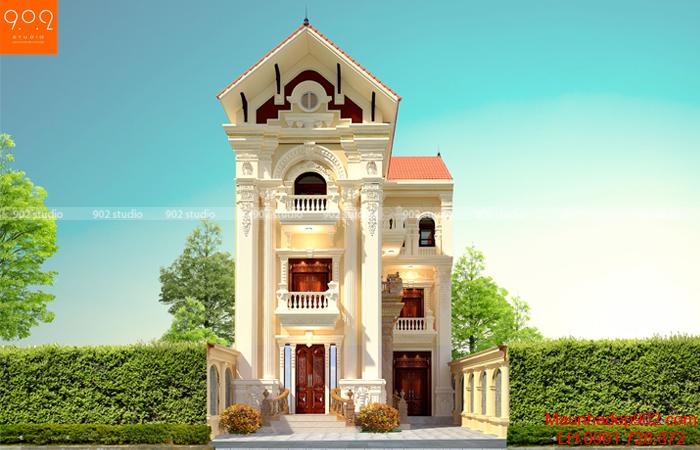 Mẫu biệt thự 3 tầng đẹp chữ l tân cổ điển Pháp