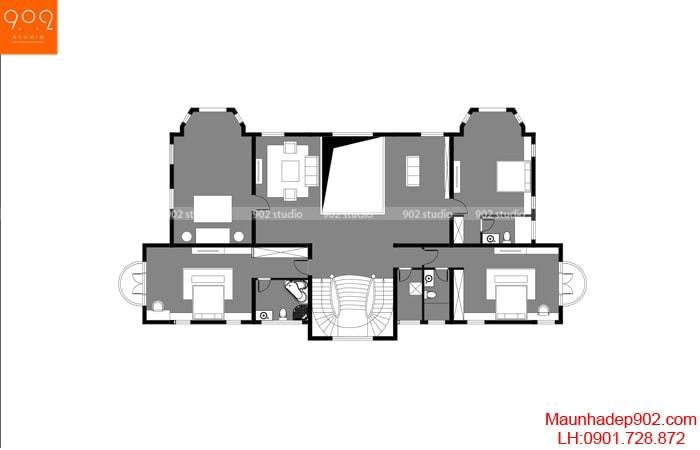 Mẫu nhà tân cổ điển 2 tầng sang trọng