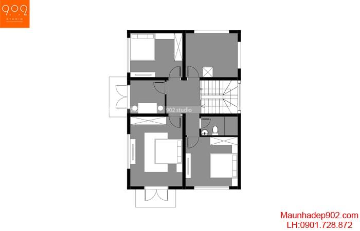 Mẫu thiết kế 2 tầng 4 phòng ngủ giá rẻ