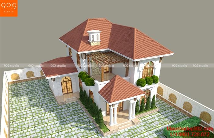 Nhà 2 tầng mái ngói hiện đại