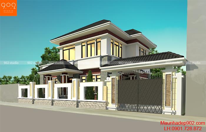 Mẫu nhà 2 tầng mái ngói thái đẹp 2018 - BT162