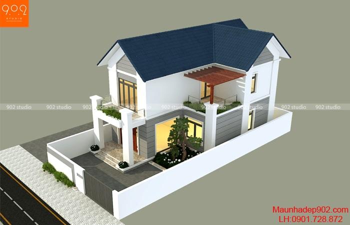 Thiết kế nhà chữ L 2 tầng 1,2 tỷ ở Hưng Yên - BT194