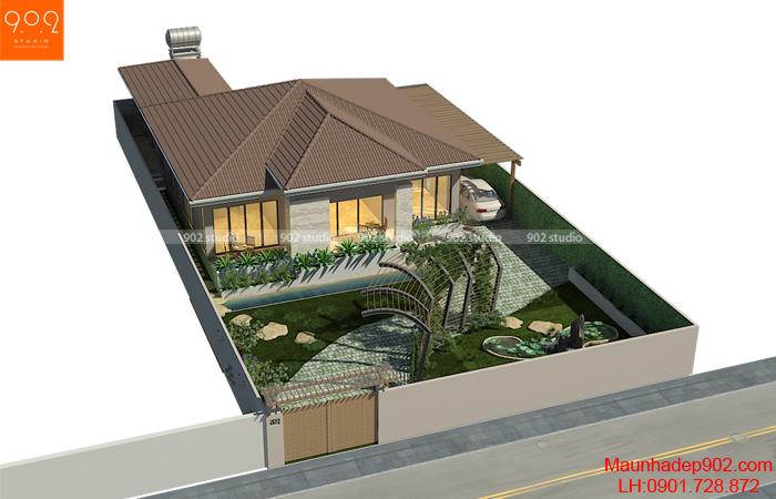 Mẫu thiết kế nội thất biệt thự vườn 1 tầng 160m2
