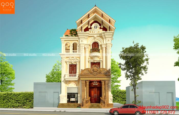 mẫu biệt thự 3 tầng tân cổ điển Pháp