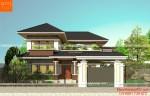 Mẫu nhà 2 tầng mái thái nông thôn kiến trúc hiện đại với sân vườn xanh tươi