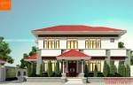 Mẫu nhà 2 tầng mái ngói thái 4 phòng ngủ Việt Trì - Phú Thọ - BT157