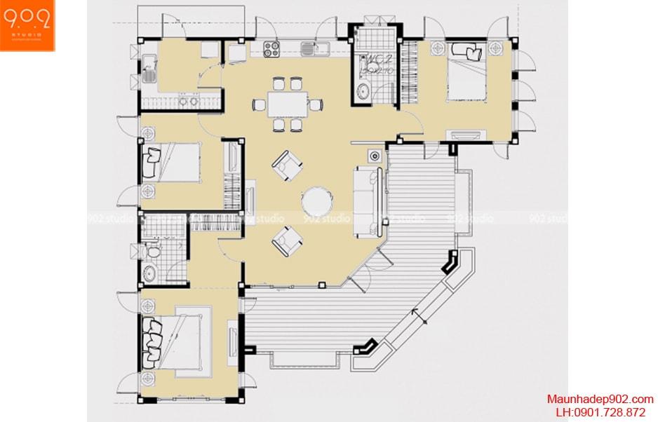 Tổng hợp những mẫu nhà 1 tầng 3 phòng ngủ