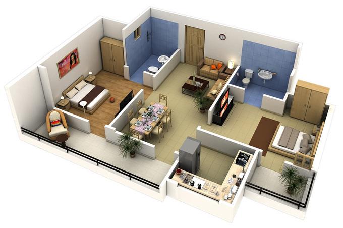 Phối cảnh 3D mặt bằng thiết kế nhà 2 phòng ngủ